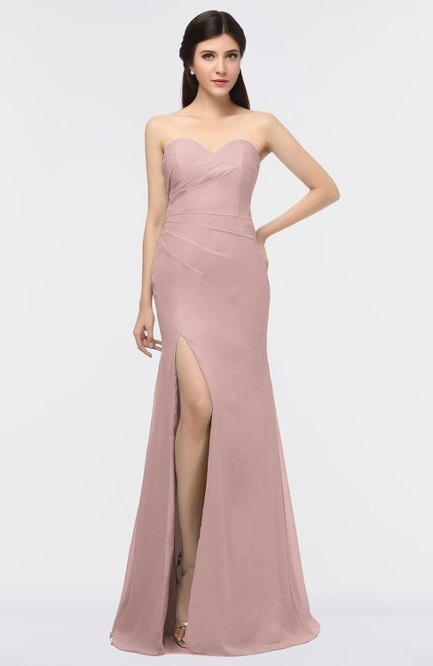 ColsBM Claudia Blush Pink Mature Sheath Strapless Sleeveless Floor Length Ruching Bridesmaid Dresses