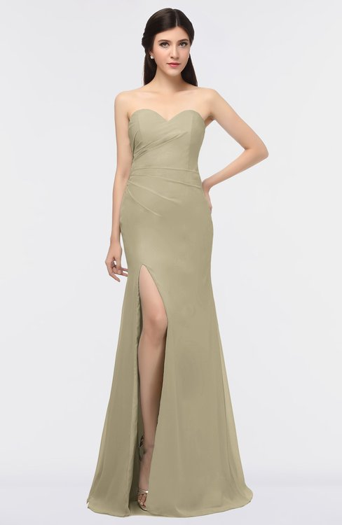 ColsBM Claudia Candied Ginger Mature Sheath Strapless Sleeveless Floor Length Ruching Bridesmaid Dresses