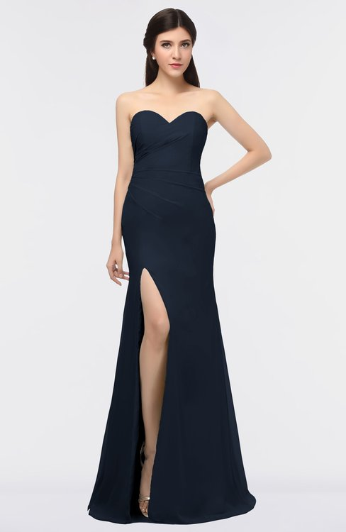 ColsBM Claudia Navy Blue Mature Sheath Strapless Sleeveless Floor Length Ruching Bridesmaid Dresses