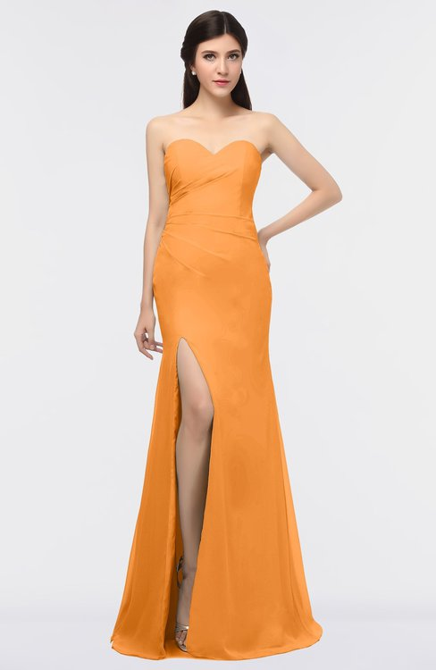 ColsBM Claudia Orange Mature Sheath Strapless Sleeveless Floor Length Ruching Bridesmaid Dresses