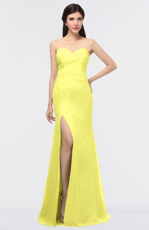 ColsBM Claudia Pale Yellow Mature Sheath Strapless Sleeveless Floor Length Ruching Bridesmaid Dresses