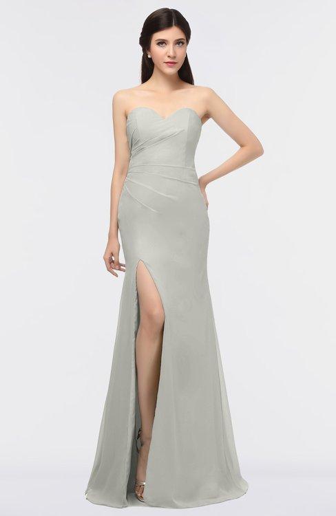 ColsBM Claudia Platinum Mature Sheath Strapless Sleeveless Floor Length Ruching Bridesmaid Dresses