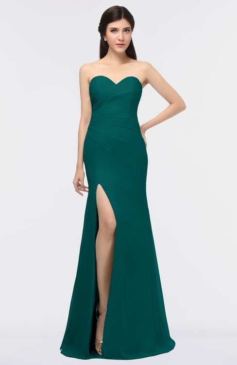 ColsBM Claudia Shaded Spruce Mature Sheath Strapless Sleeveless Floor Length Ruching Bridesmaid Dresses