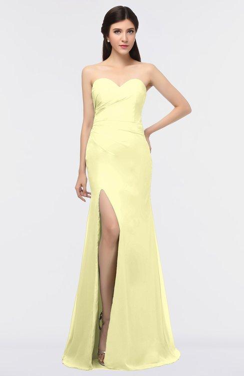 ColsBM Claudia Wax Yellow Mature Sheath Strapless Sleeveless Floor Length Ruching Bridesmaid Dresses