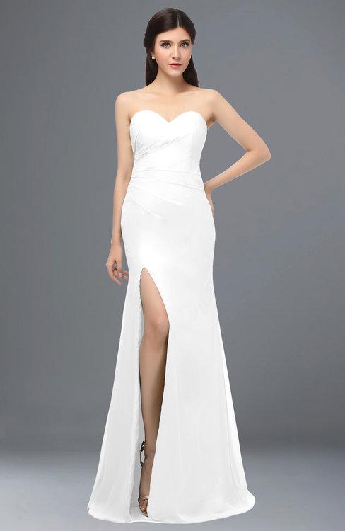 ColsBM Claudia White Mature Sheath Strapless Sleeveless Floor Length Ruching Bridesmaid Dresses