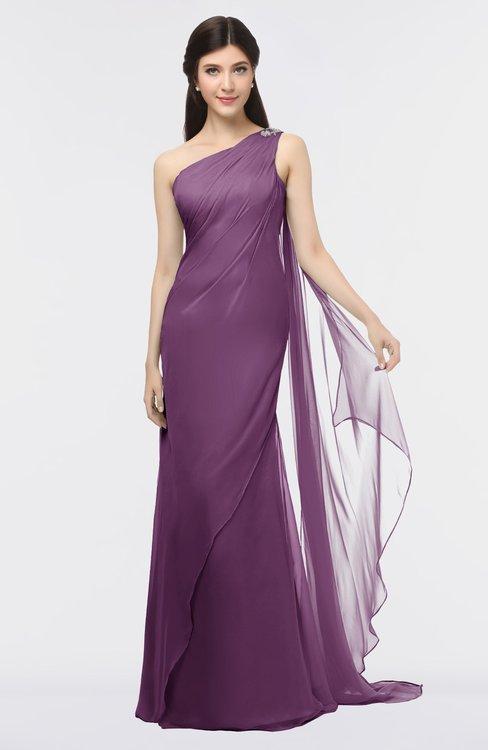 ColsBM Helena Grape Juice Elegant Asymmetric Neckline Sleeveless Zip up Floor Length Bridesmaid Dresses
