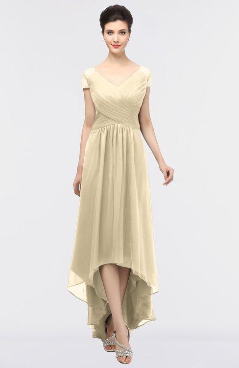 ColsBM Juliana Angora Elegant V-neck Short Sleeve Zip up Appliques Bridesmaid Dresses