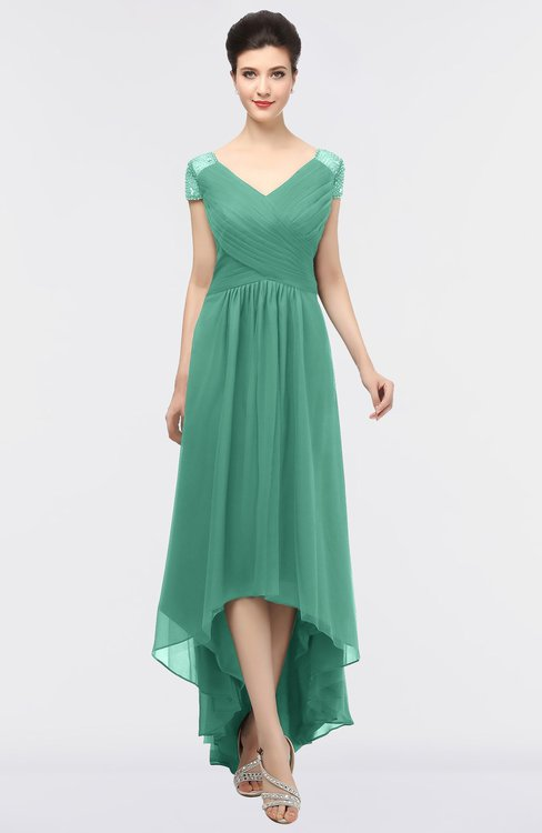 ColsBM Juliana Beryl Green Elegant V-neck Short Sleeve Zip up Appliques Bridesmaid Dresses