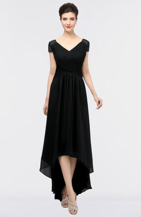 ColsBM Juliana Black Elegant V-neck Short Sleeve Zip up Appliques Bridesmaid Dresses