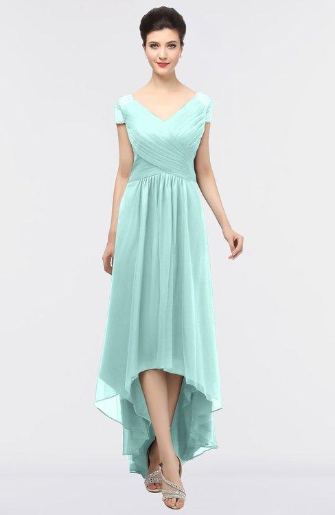 ColsBM Juliana Blue Glass Elegant V-neck Short Sleeve Zip up Appliques Bridesmaid Dresses