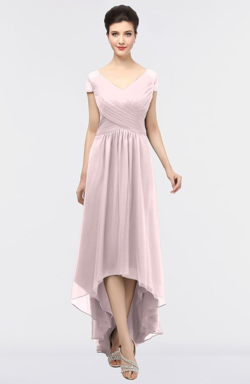 ColsBM Juliana Blush Elegant V-neck Short Sleeve Zip up Appliques Bridesmaid Dresses