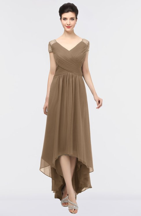ColsBM Juliana Bronze Brown Elegant V-neck Short Sleeve Zip up Appliques Bridesmaid Dresses
