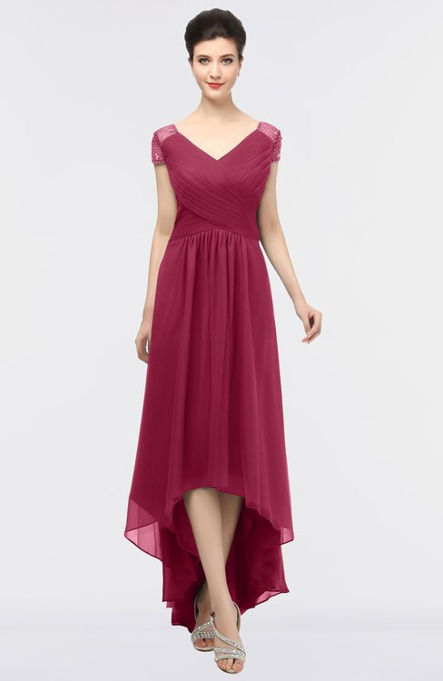 ColsBM Juliana Burgundy Elegant V-neck Short Sleeve Zip up Appliques Bridesmaid Dresses