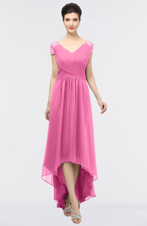 ColsBM Juliana Carnation Pink Elegant V-neck Short Sleeve Zip up Appliques Bridesmaid Dresses