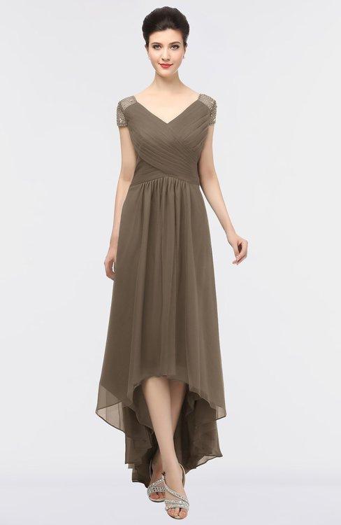 ColsBM Juliana Chocolate Brown Elegant V-neck Short Sleeve Zip up Appliques Bridesmaid Dresses