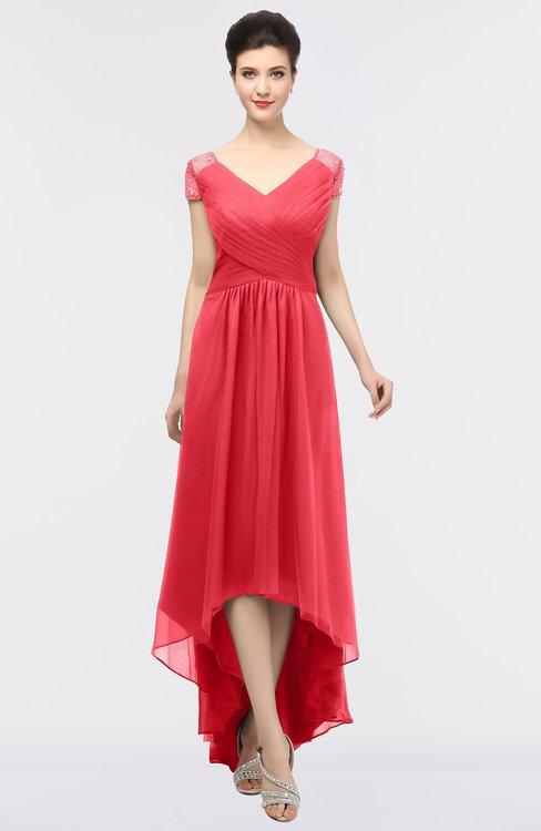 ColsBM Juliana Coral Elegant V-neck Short Sleeve Zip up Appliques Bridesmaid Dresses
