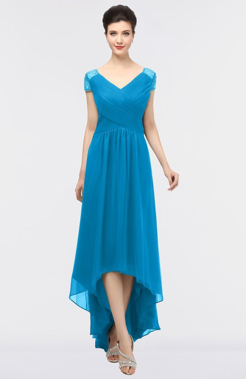 ColsBM Juliana Cornflower Blue Elegant V-neck Short Sleeve Zip up Appliques Bridesmaid Dresses
