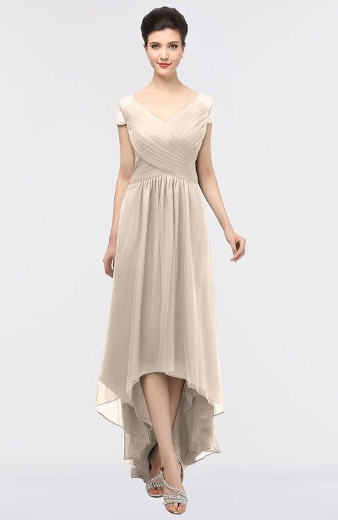 ColsBM Juliana Cream Tan Elegant V-neck Short Sleeve Zip up Appliques Bridesmaid Dresses