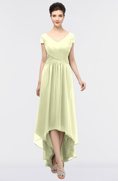 ColsBM Juliana Cream Elegant V-neck Short Sleeve Zip up Appliques Bridesmaid Dresses
