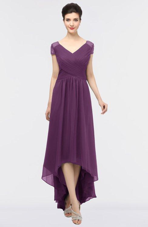 ColsBM Juliana Dahlia Elegant V-neck Short Sleeve Zip up Appliques Bridesmaid Dresses
