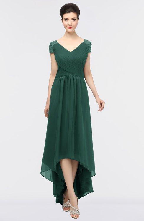 ColsBM Juliana Dark Jade Elegant V-neck Short Sleeve Zip up Appliques Bridesmaid Dresses