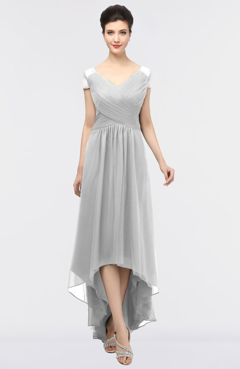 ColsBM Juliana Dove Grey Elegant V-neck Short Sleeve Zip up Appliques Bridesmaid Dresses