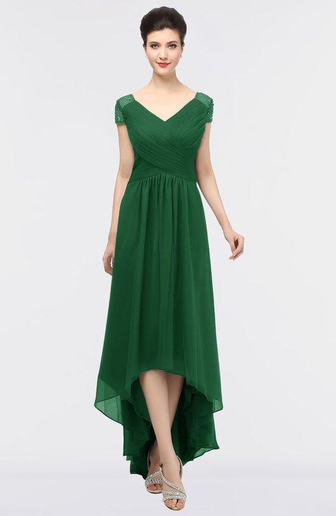ColsBM Juliana Eden Elegant V-neck Short Sleeve Zip up Appliques Bridesmaid Dresses