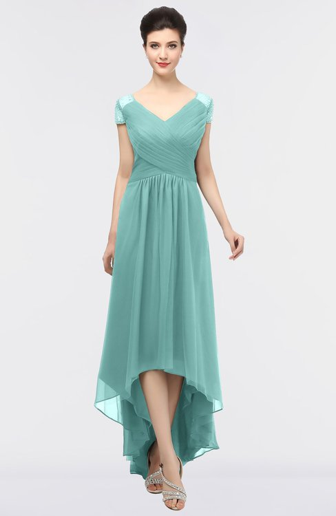 ColsBM Juliana Eggshell Blue Elegant V-neck Short Sleeve Zip up Appliques Bridesmaid Dresses
