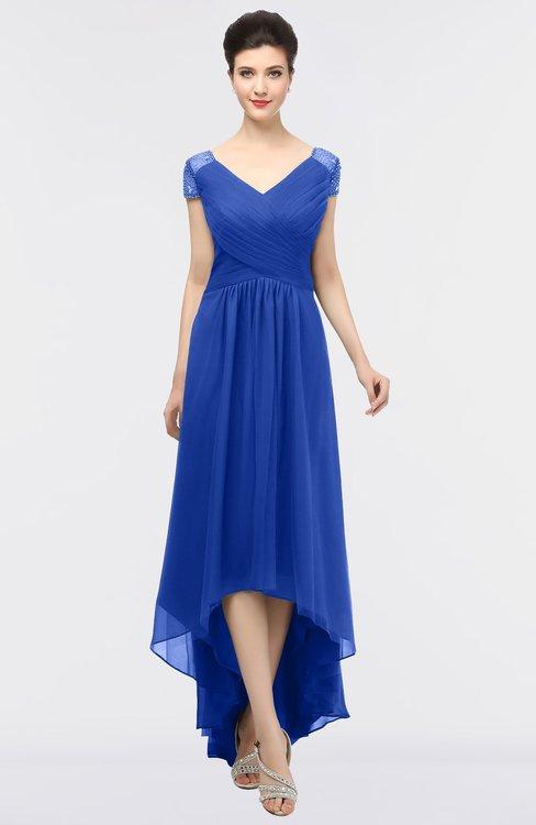 ColsBM Juliana Electric Blue Elegant V-neck Short Sleeve Zip up Appliques Bridesmaid Dresses