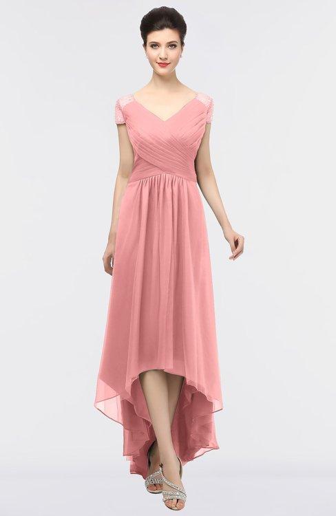 ColsBM Juliana Flamingo Pink Elegant V-neck Short Sleeve Zip up Appliques Bridesmaid Dresses