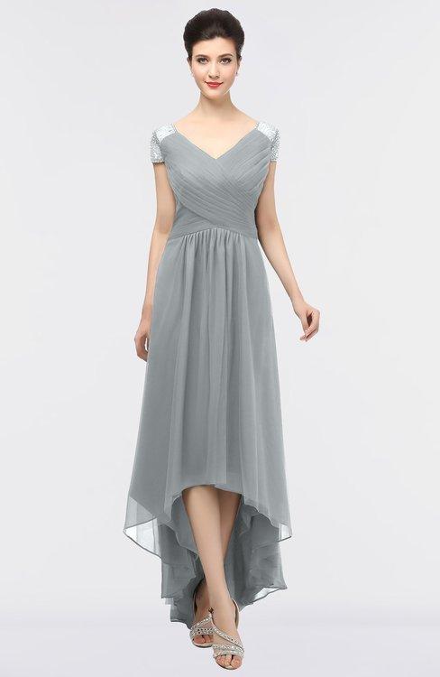 ColsBM Juliana Frost Grey Elegant V-neck Short Sleeve Zip up Appliques Bridesmaid Dresses