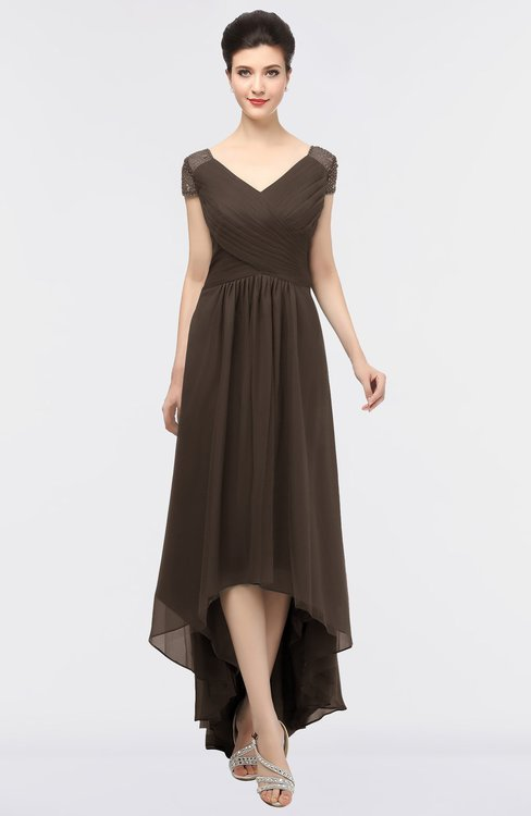 ColsBM Juliana Fudge Brown Elegant V-neck Short Sleeve Zip up Appliques Bridesmaid Dresses