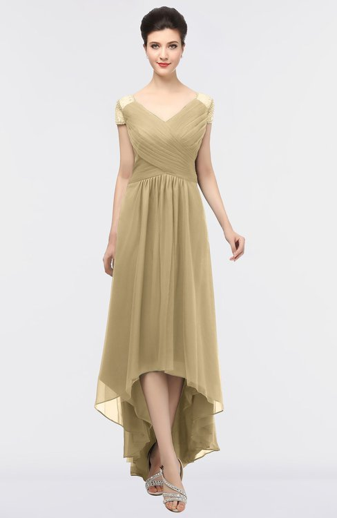 ColsBM Juliana Gold Elegant V-neck Short Sleeve Zip up Appliques Bridesmaid Dresses
