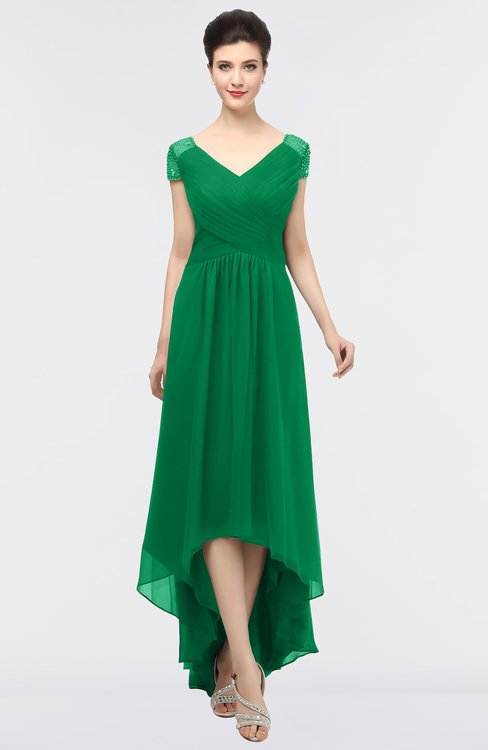ColsBM Juliana Green Elegant V-neck Short Sleeve Zip up Appliques Bridesmaid Dresses