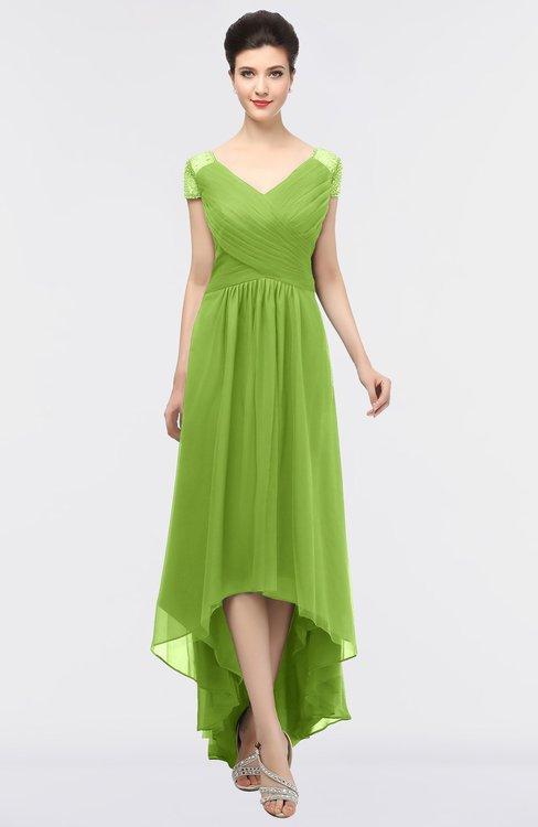 ColsBM Juliana Greenery Elegant V-neck Short Sleeve Zip up Appliques Bridesmaid Dresses