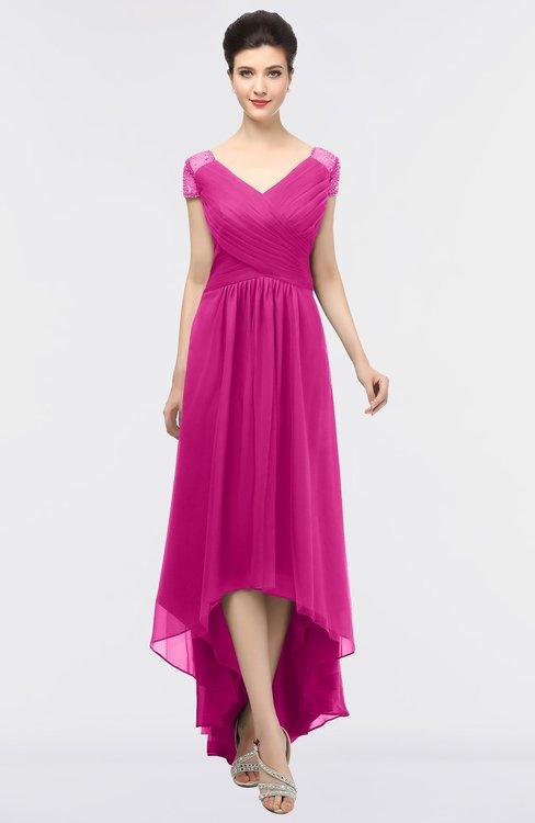 ColsBM Juliana Hot Pink Elegant V-neck Short Sleeve Zip up Appliques Bridesmaid Dresses