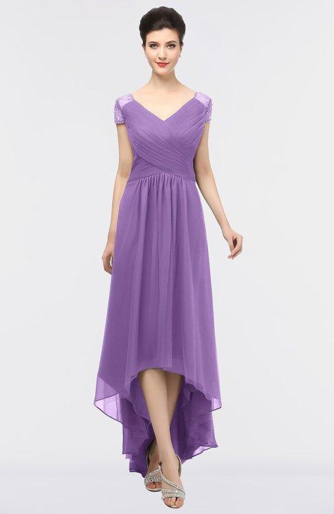 ColsBM Juliana Hyacinth Elegant V-neck Short Sleeve Zip up Appliques Bridesmaid Dresses