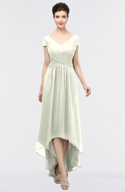 ColsBM Juliana Ivory Elegant V-neck Short Sleeve Zip up Appliques Bridesmaid Dresses