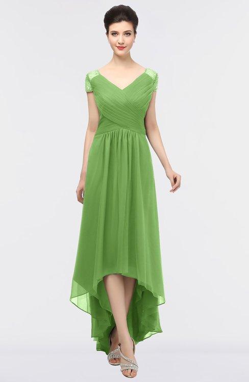 ColsBM Juliana Kiwi Green Elegant V-neck Short Sleeve Zip up Appliques Bridesmaid Dresses