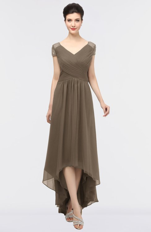 ColsBM Juliana Latte Elegant V-neck Short Sleeve Zip up Appliques Bridesmaid Dresses