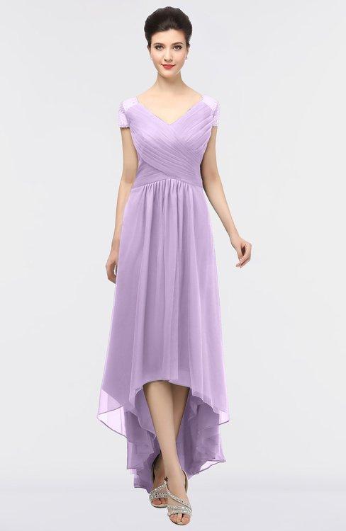 ColsBM Juliana Lavendula Elegant V-neck Short Sleeve Zip up Appliques Bridesmaid Dresses