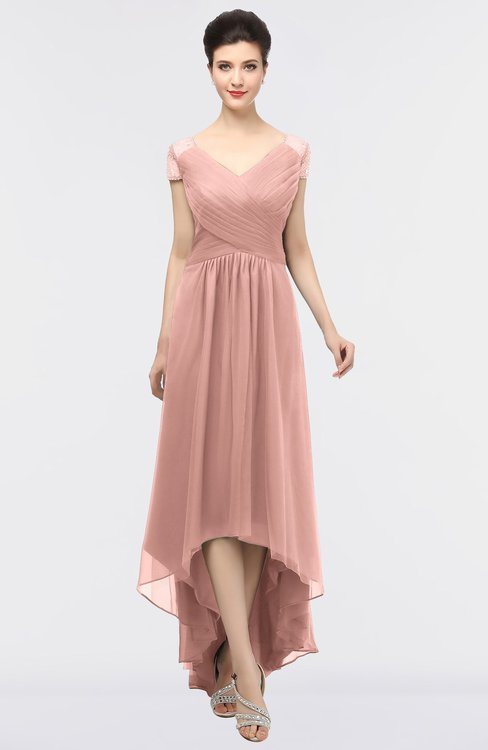 ColsBM Juliana Light Coral Elegant V-neck Short Sleeve Zip up Appliques Bridesmaid Dresses