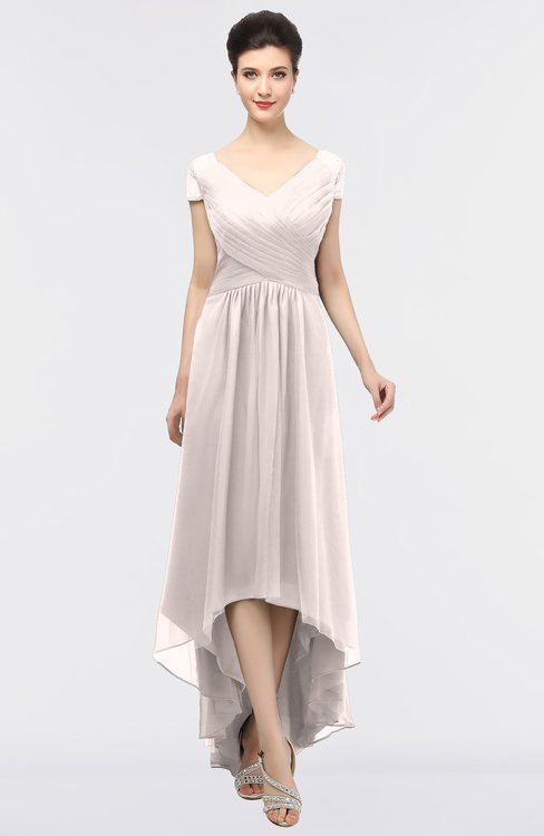 ColsBM Juliana Light Pink Elegant V-neck Short Sleeve Zip up Appliques Bridesmaid Dresses