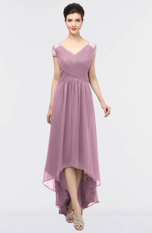 ColsBM Juliana Lilas Elegant V-neck Short Sleeve Zip up Appliques Bridesmaid Dresses
