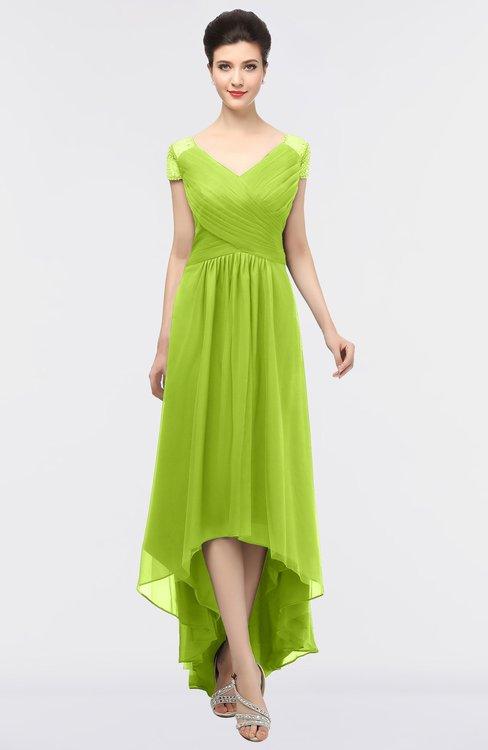 ColsBM Juliana Lime Green Elegant V-neck Short Sleeve Zip up Appliques Bridesmaid Dresses