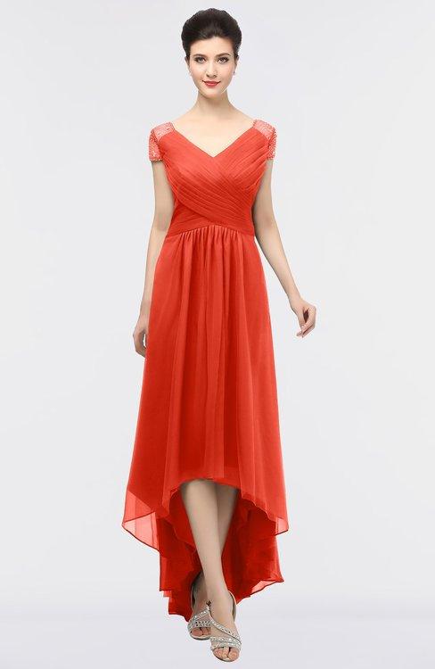 ColsBM Juliana Mandarin Red Elegant V-neck Short Sleeve Zip up Appliques Bridesmaid Dresses