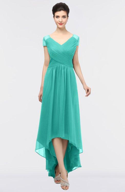 ColsBM Juliana Mint Green Elegant V-neck Short Sleeve Zip up Appliques Bridesmaid Dresses