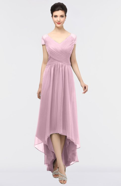 ColsBM Juliana Mist Pink Elegant V-neck Short Sleeve Zip up Appliques Bridesmaid Dresses