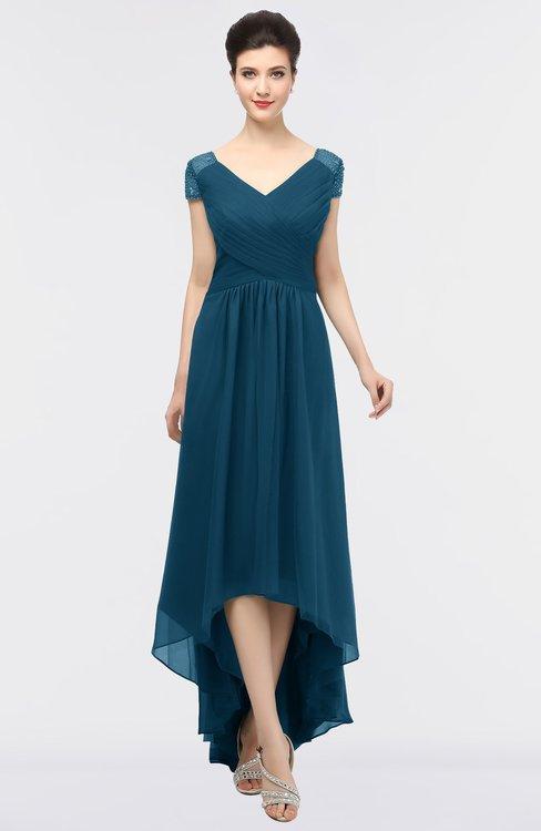 ColsBM Juliana Moroccan Blue Elegant V-neck Short Sleeve Zip up Appliques Bridesmaid Dresses