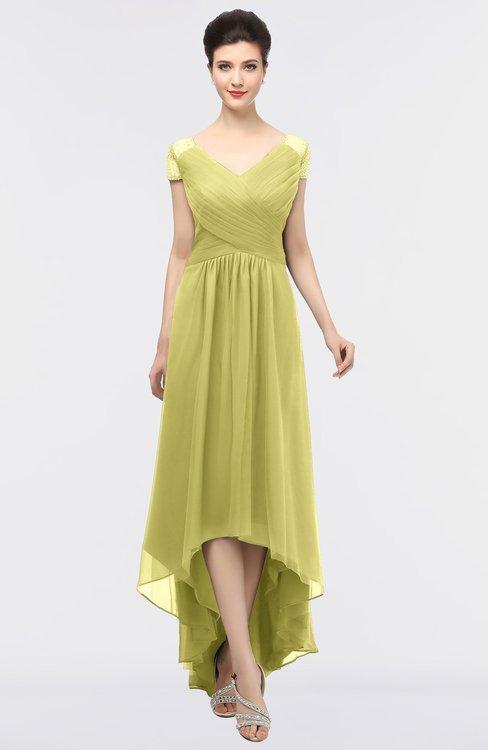 ColsBM Juliana Muted Lime Elegant V-neck Short Sleeve Zip up Appliques Bridesmaid Dresses